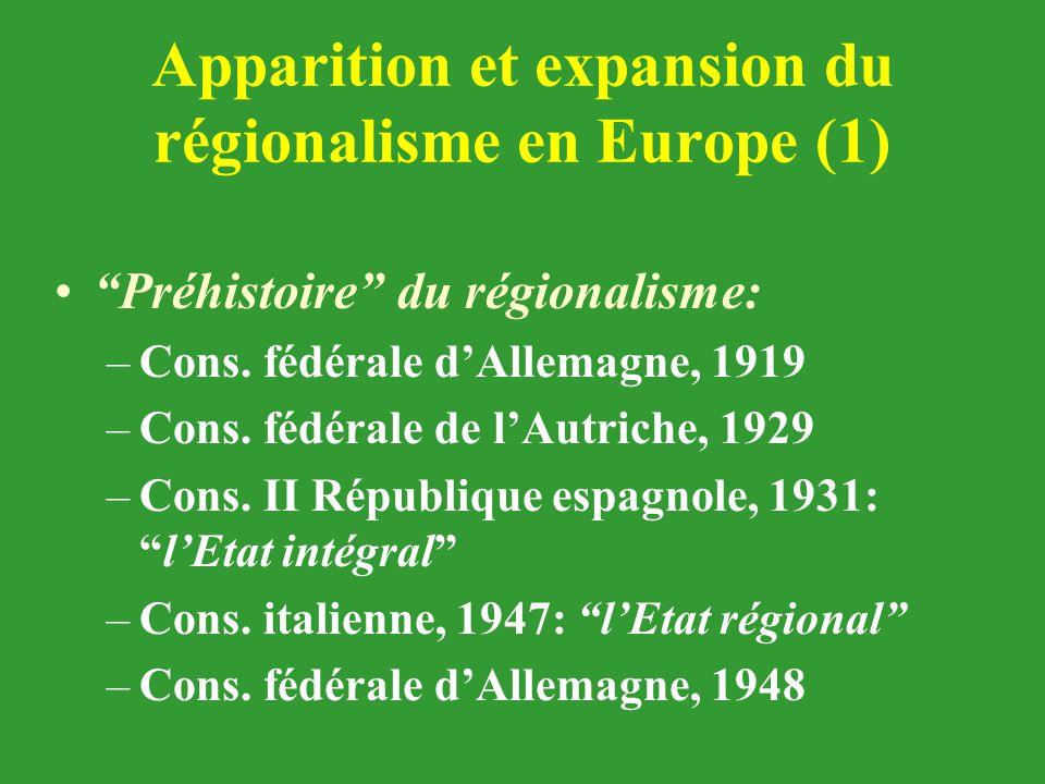 """Apparition et expansion du régionalisme en Europe (1) """"Préhistoire"""" du régionalisme: –Cons. fédérale d'Allemagne, 1919 –Cons. fédérale de l'Autriche,"""