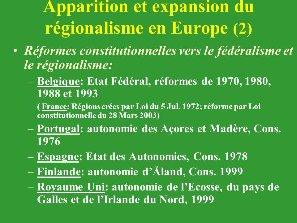 Apparition et expansion du régionalisme en Europe (2) Réformes constitutionnelles vers le fédéralisme et le régionalisme: –Belgique: Etat Fédéral, réf