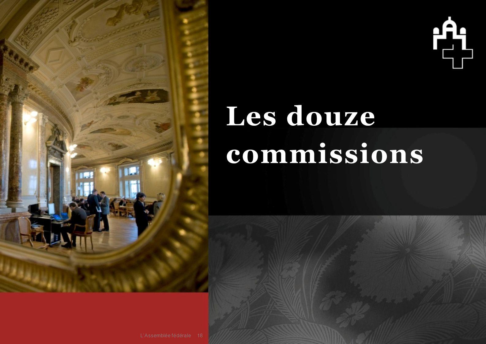 18 Les douze commissions L'Assemblée fédérale