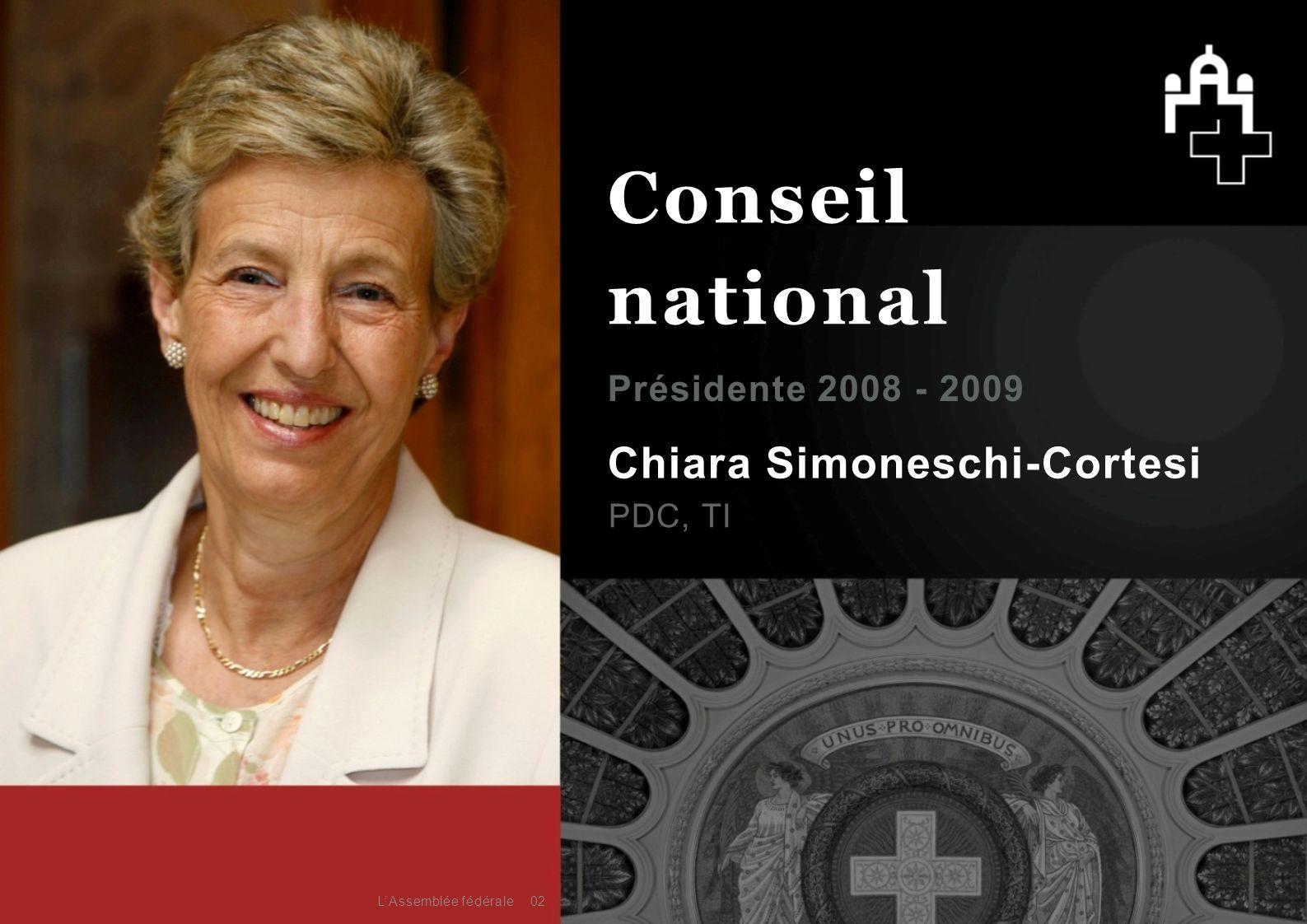 Chiara Simoneschi-Cortesi PDC, TI Présidente 2008 - 2009 02 Conseil national L'Assemblée fédérale