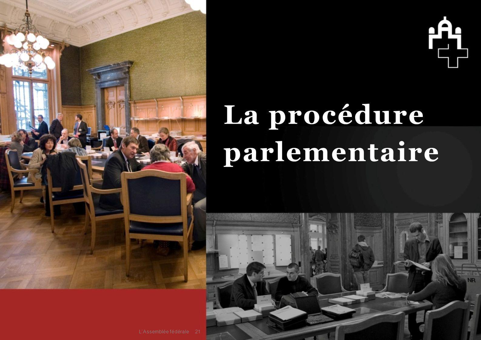 21 La procédure parlementaire L'Assemblée fédérale