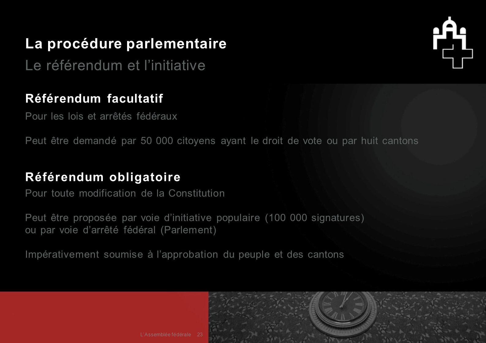 La procédure parlementaire Le référendum et l'initiative Référendum facultatif Pour les lois et arrêtés fédéraux Peut être demandé par 50 000 citoyens
