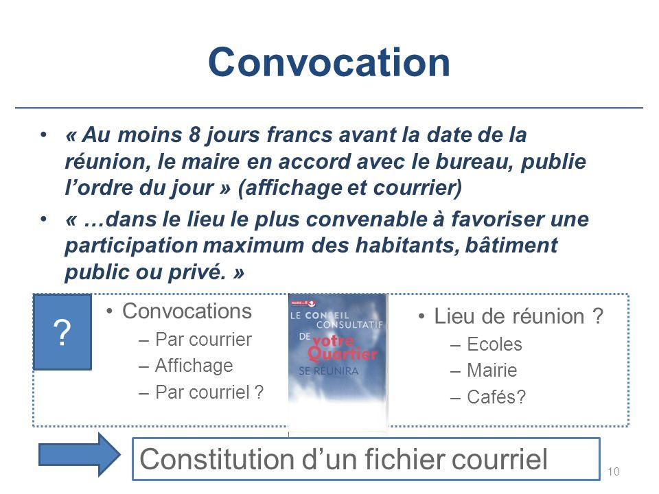 Convocation Convocations –Par courrier –Affichage –Par courriel ? « Au moins 8 jours francs avant la date de la réunion, le maire en accord avec le bu