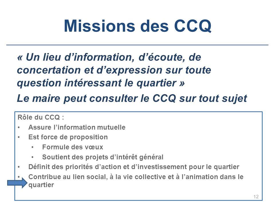 Missions des CCQ « Un lieu d'information, d'écoute, de concertation et d'expression sur toute question intéressant le quartier » Le maire peut consult