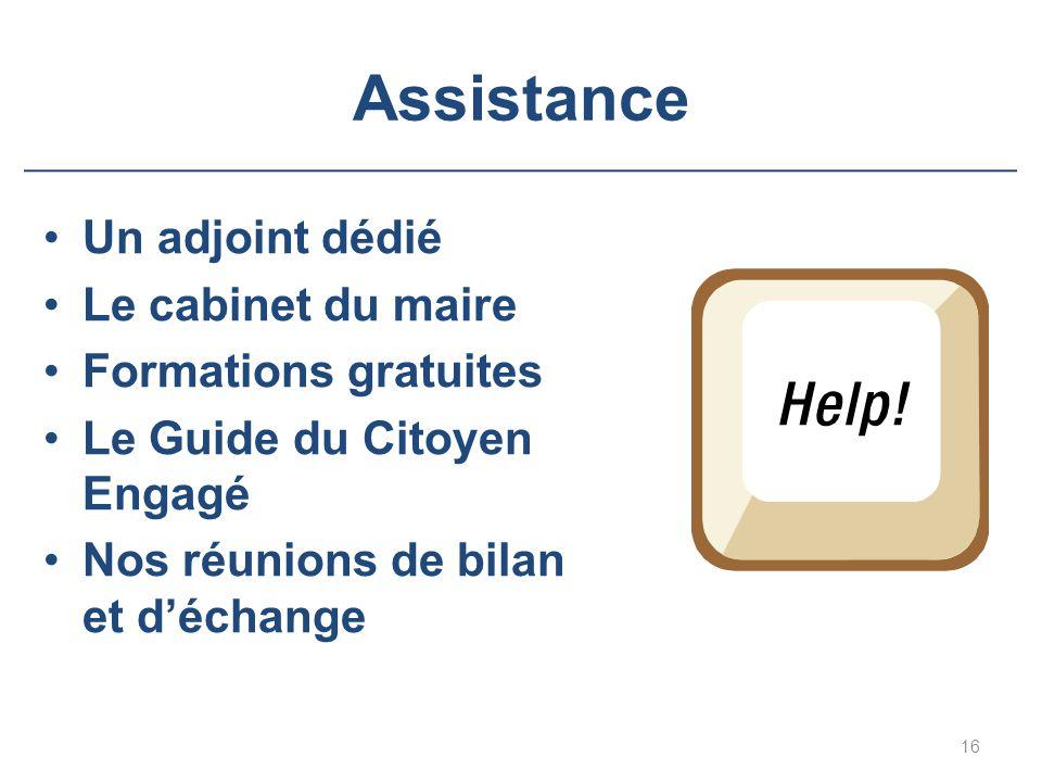 Assistance Un adjoint dédié Le cabinet du maire Formations gratuites Le Guide du Citoyen Engagé Nos réunions de bilan et d'échange 16