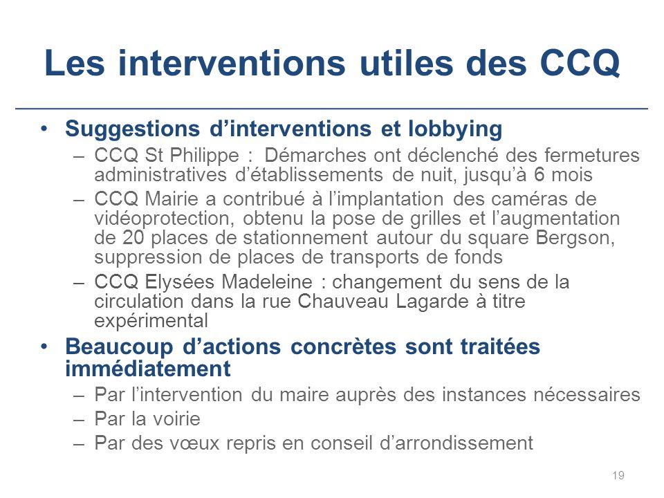 Les interventions utiles des CCQ Suggestions d'interventions et lobbying –CCQ St Philippe : Démarches ont déclenché des fermetures administratives d'é