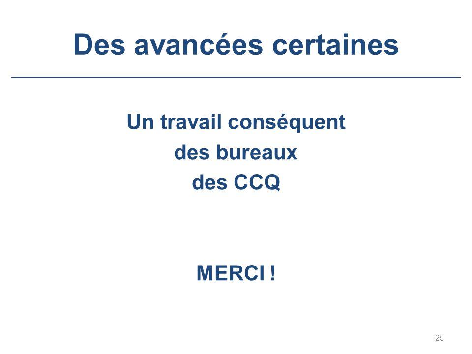 Des avancées certaines Un travail conséquent des bureaux des CCQ MERCI ! 25
