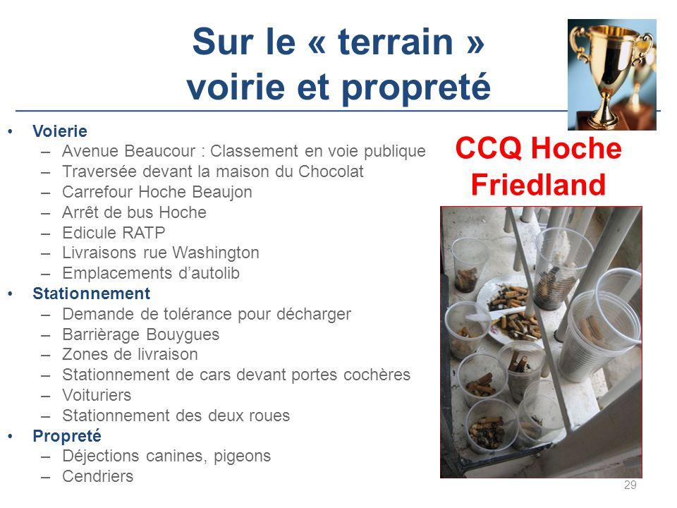 Sur le « terrain » voirie et propreté Voierie –Avenue Beaucour : Classement en voie publique –Traversée devant la maison du Chocolat –Carrefour Hoche
