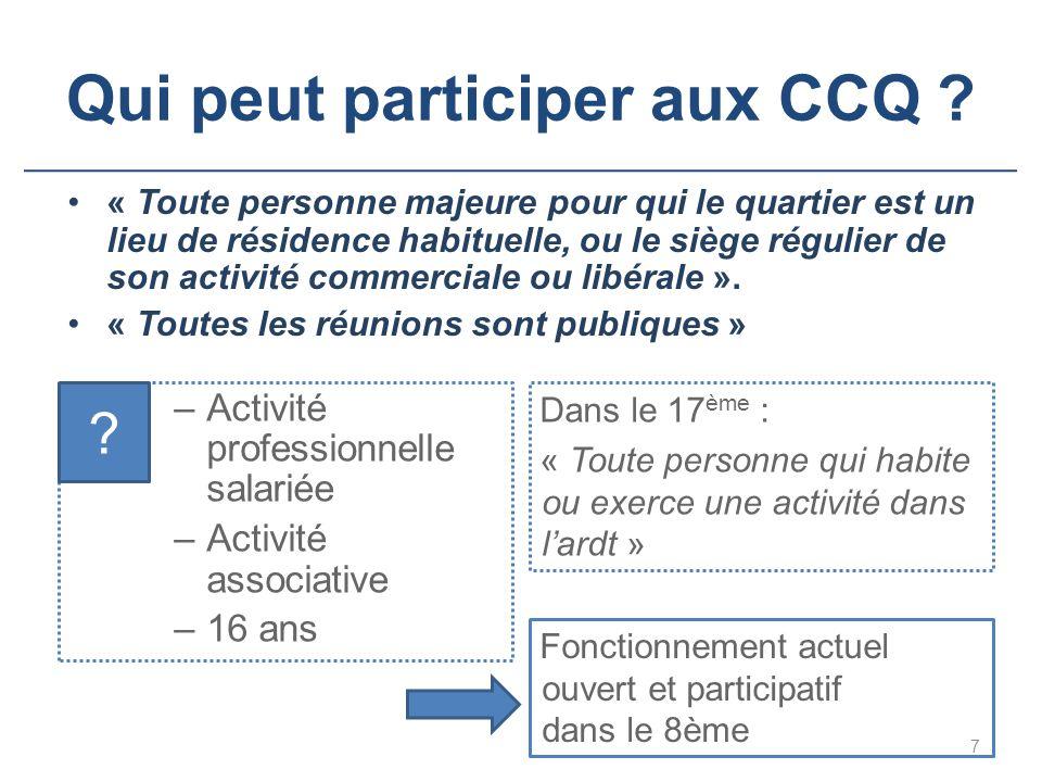 Qui peut participer aux CCQ ? « Toute personne majeure pour qui le quartier est un lieu de résidence habituelle, ou le siège régulier de son activité