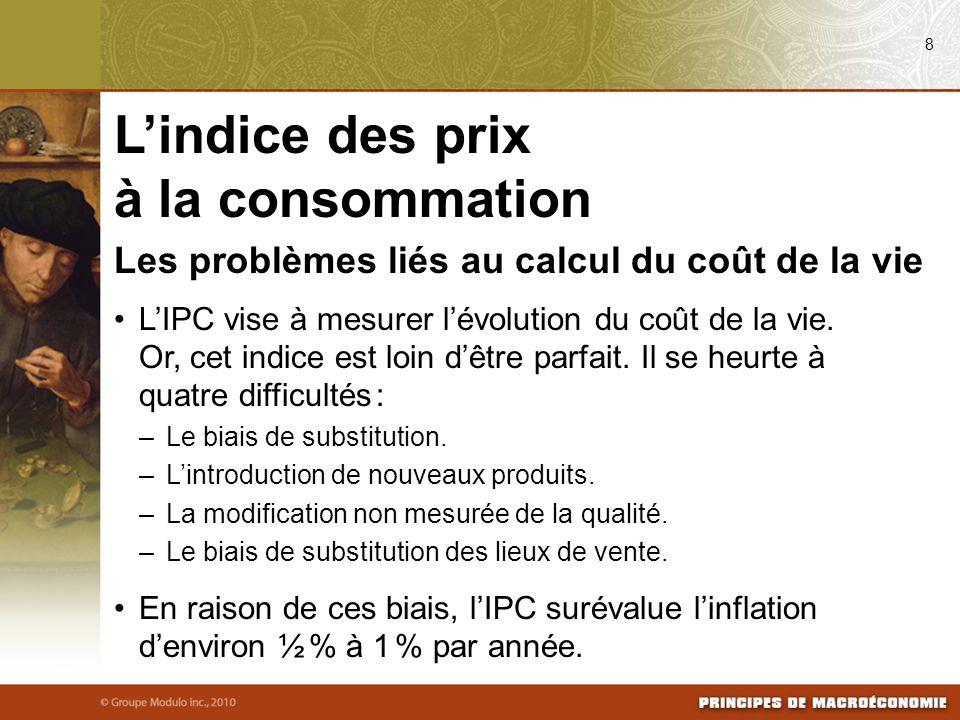Les problèmes liés au calcul du coût de la vie L'IPC vise à mesurer l'évolution du coût de la vie.