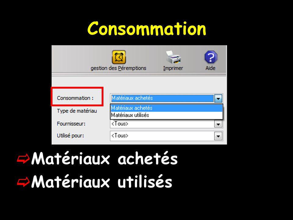 Consommation  Matériaux achetés  Matériaux utilisés