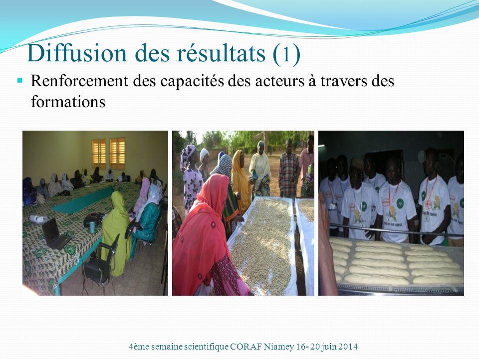 Diffusion des résultats ( 1 )  Renforcement des capacités des acteurs à travers des formations 4ème semaine scientifique CORAF Niamey 16- 20 juin 201
