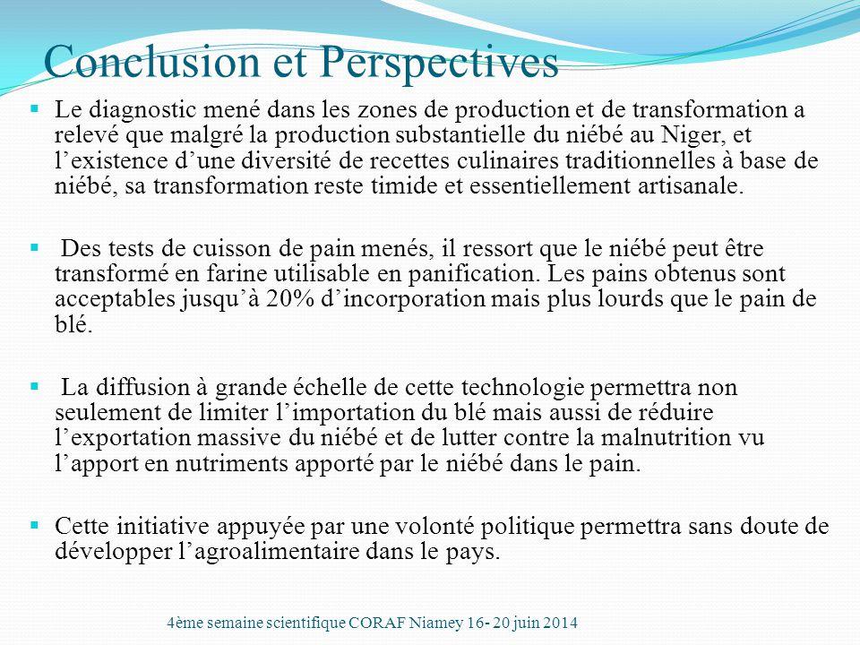 Conclusion et Perspectives  Le diagnostic mené dans les zones de production et de transformation a relevé que malgré la production substantielle du n
