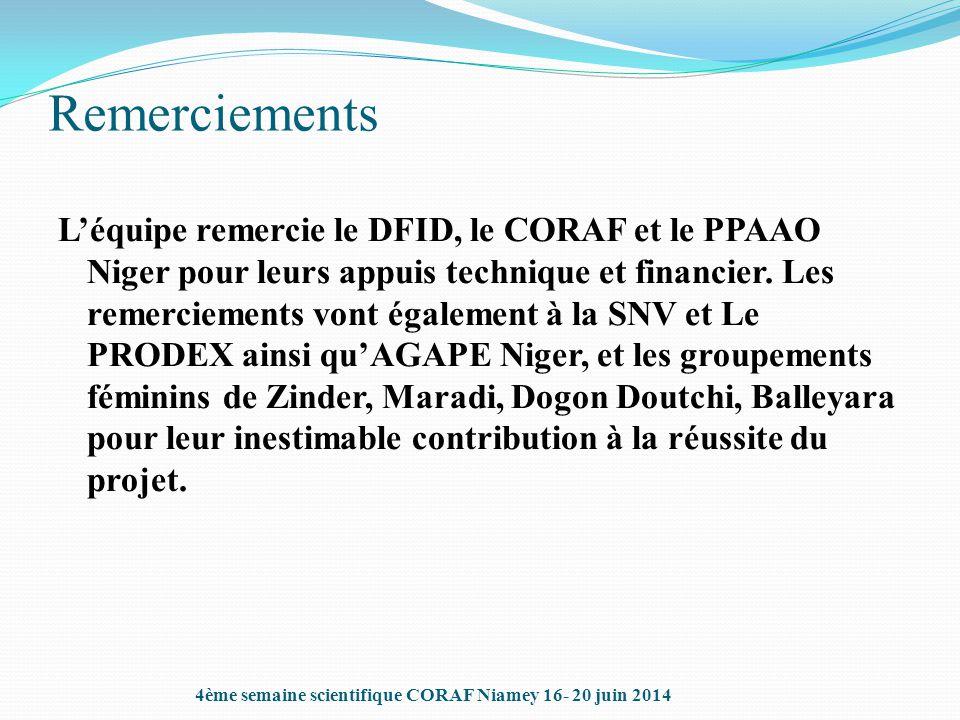 Remerciements L'équipe remercie le DFID, le CORAF et le PPAAO Niger pour leurs appuis technique et financier. Les remerciements vont également à la SN