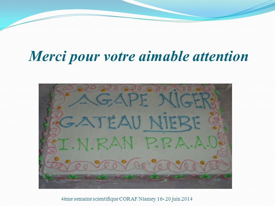 Merci pour votre aimable attention 4ème semaine scientifique CORAF Niamey 16- 20 juin 2014