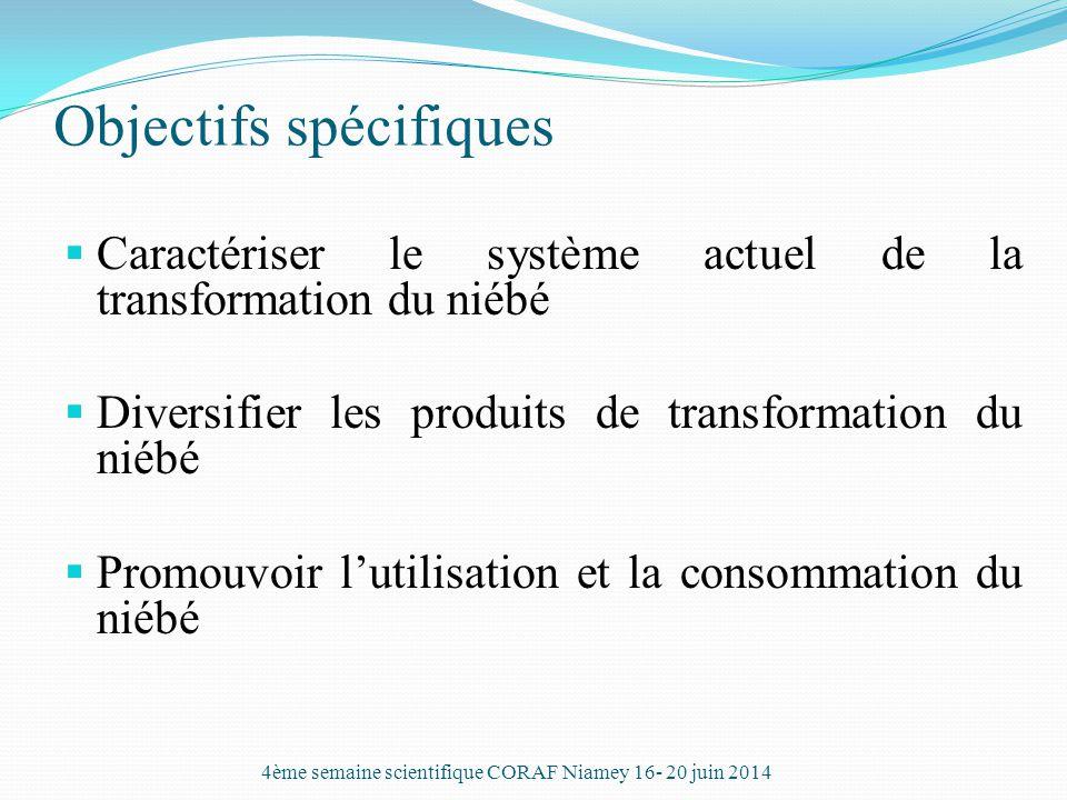 Objectifs spécifiques  Caractériser le système actuel de la transformation du niébé  Diversifier les produits de transformation du niébé  Promouvoi