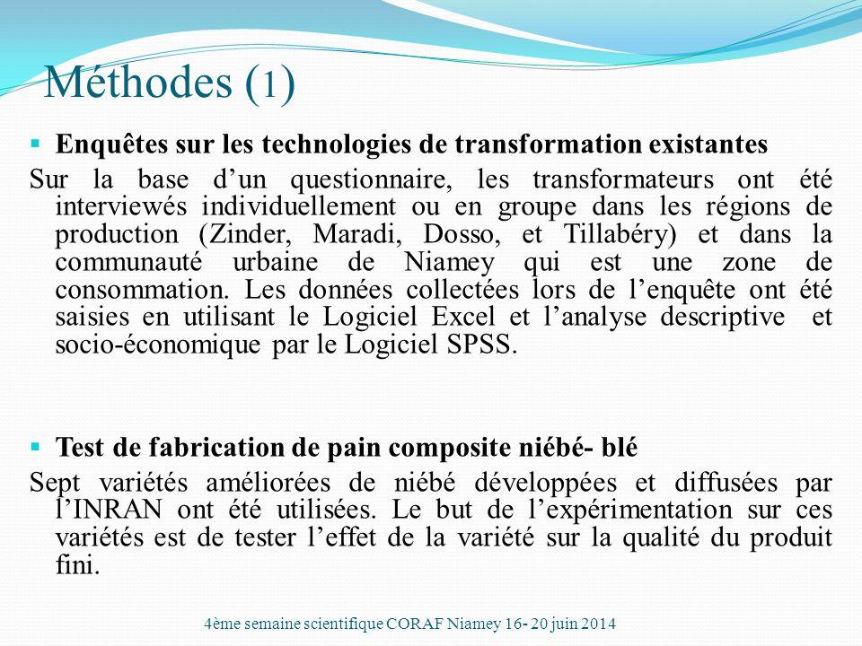 Méthodes ( 1 )  Enquêtes sur les technologies de transformation existantes Sur la base d'un questionnaire, les transformateurs ont été interviewés in