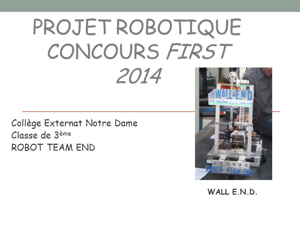 PROJET ROBOTIQUE CONCOURS FIRST 2014 Collège Externat Notre Dame Classe de 3 ème ROBOT TEAM END WALL E.N.D.