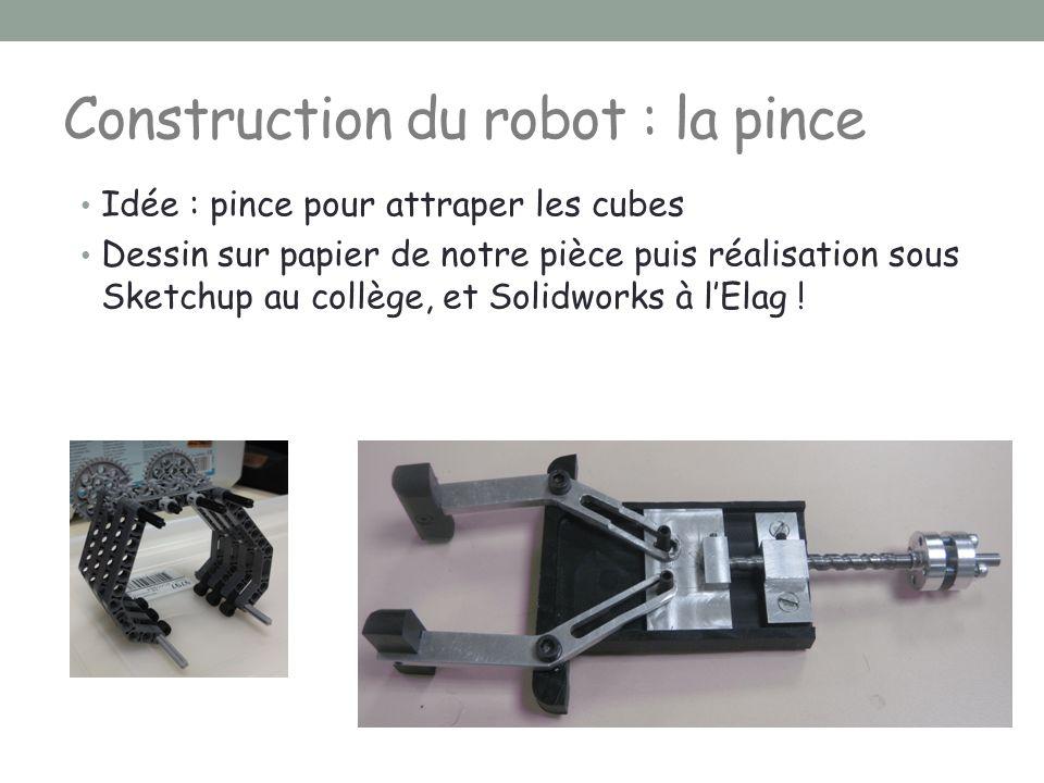 Construction du robot : la pince Idée : pince pour attraper les cubes Dessin sur papier de notre pièce puis réalisation sous Sketchup au collège, et S