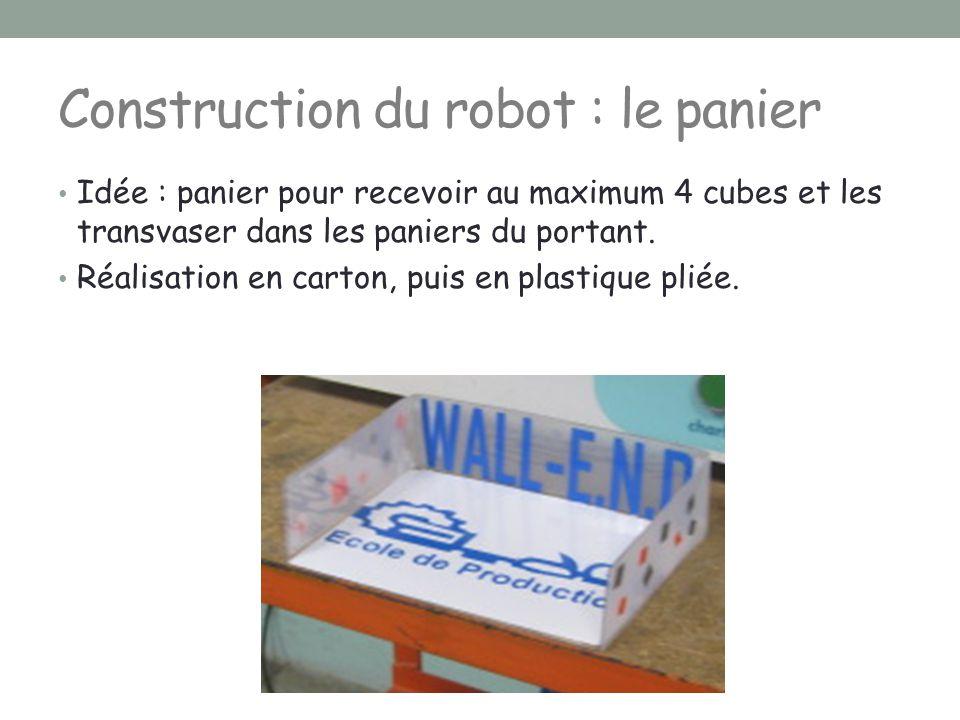 Construction du robot : le panier Idée : panier pour recevoir au maximum 4 cubes et les transvaser dans les paniers du portant. Réalisation en carton,