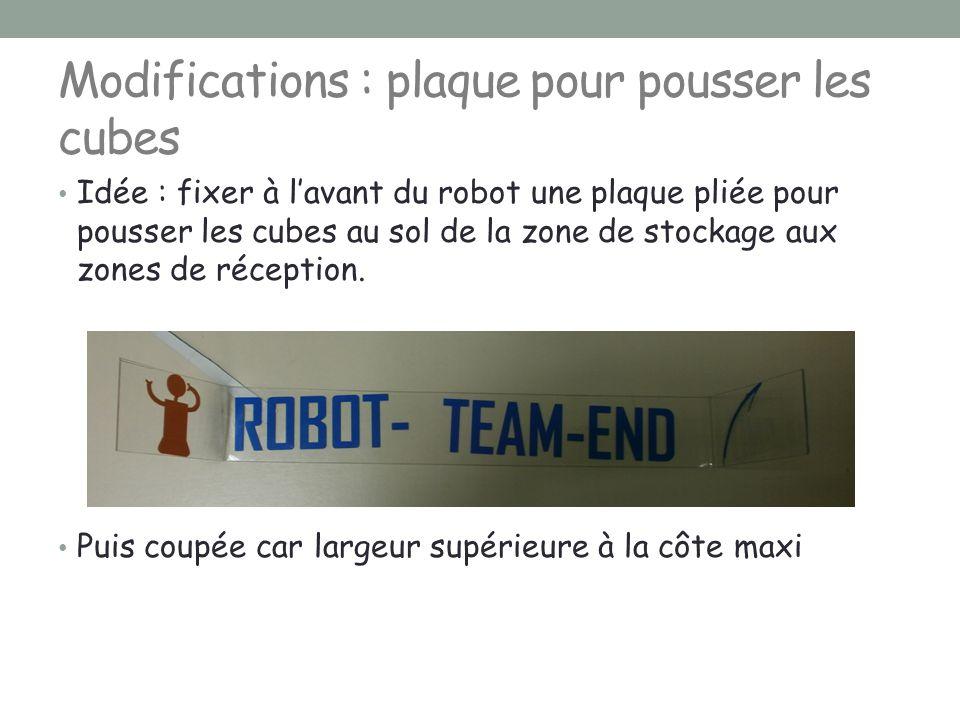 Modifications : plaque pour pousser les cubes Idée : fixer à l'avant du robot une plaque pliée pour pousser les cubes au sol de la zone de stockage au