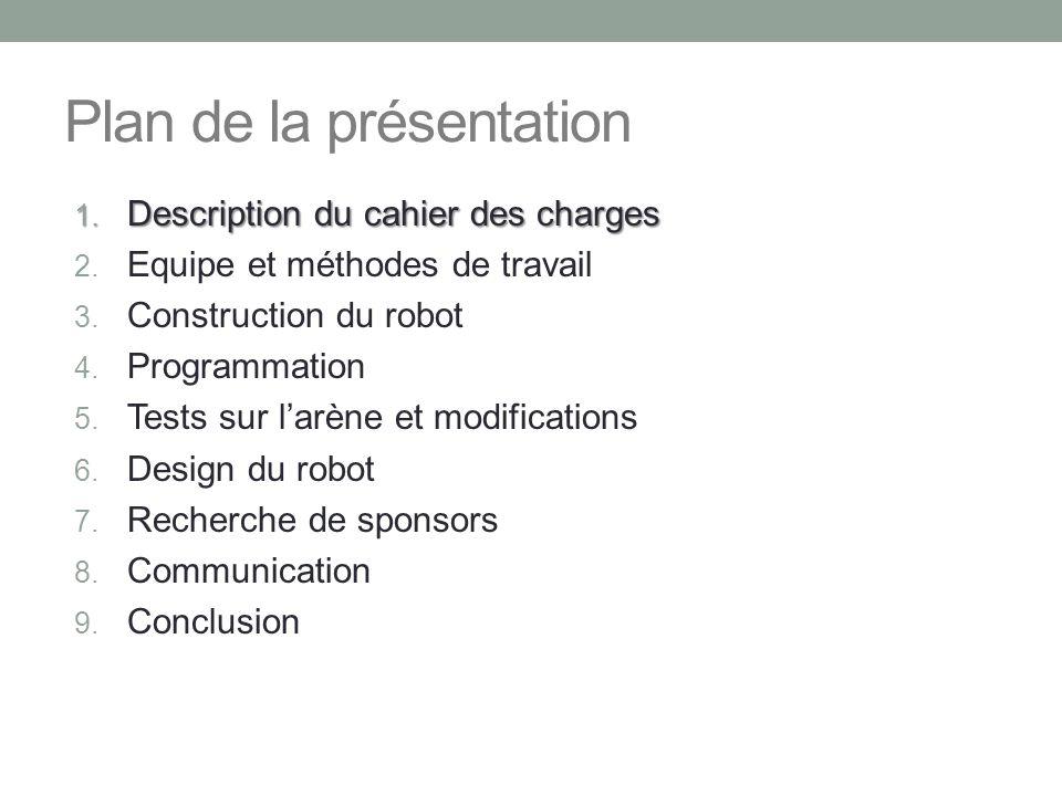 Plan de la présentation 1. Description du cahier des charges 2. Equipe et méthodes de travail 3. Construction du robot 4. Programmation 5. Tests sur l