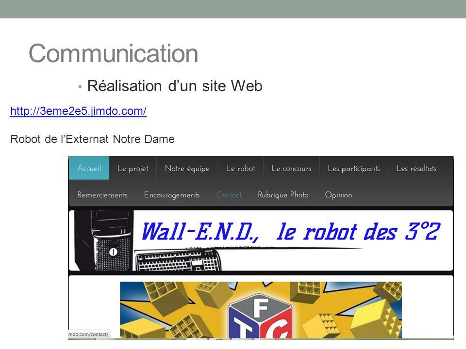 Communication Réalisation d'un site Web http://3eme2e5.jimdo.com/ Robot de l'Externat Notre Dame