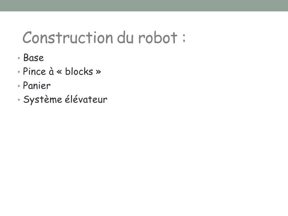 Base Pince à « blocks » Panier Système élévateur Construction du robot :