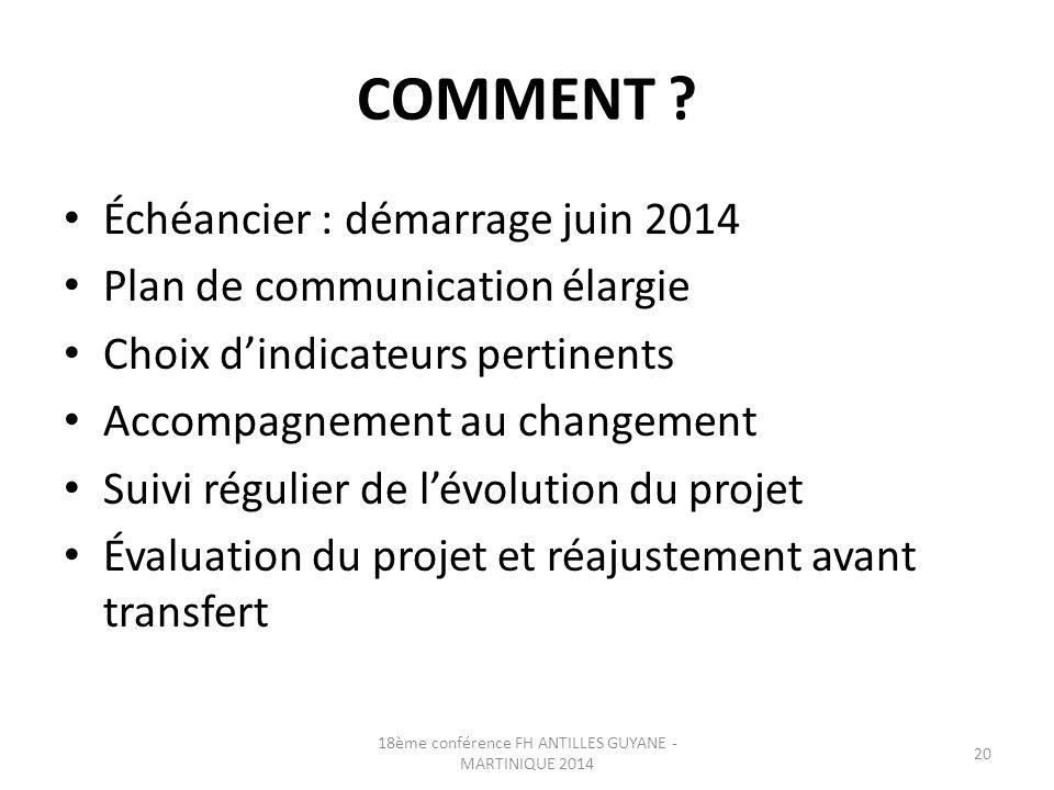 COMMENT ? Échéancier : démarrage juin 2014 Plan de communication élargie Choix d'indicateurs pertinents Accompagnement au changement Suivi régulier de