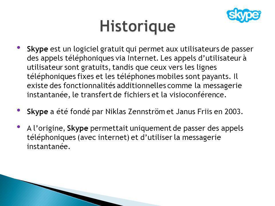 Skype est un logiciel gratuit qui permet aux utilisateurs de passer des appels téléphoniques via Internet. Les appels d'utilisateur à utilisateur sont