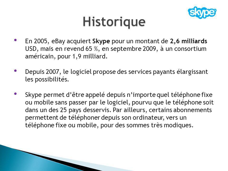 En 2005, eBay acquiert Skype pour un montant de 2,6 milliards USD, mais en revend 65 %, en septembre 2009, à un consortium américain, pour 1,9 milliar
