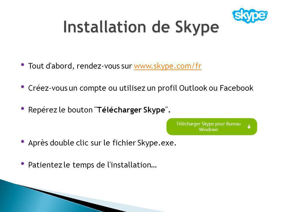 Tout d'abord, rendez-vous sur www.skype.com/frwww.skype.com/fr Créez-vous un compte ou utilisez un profil Outlook ou Facebook Repérez le bouton