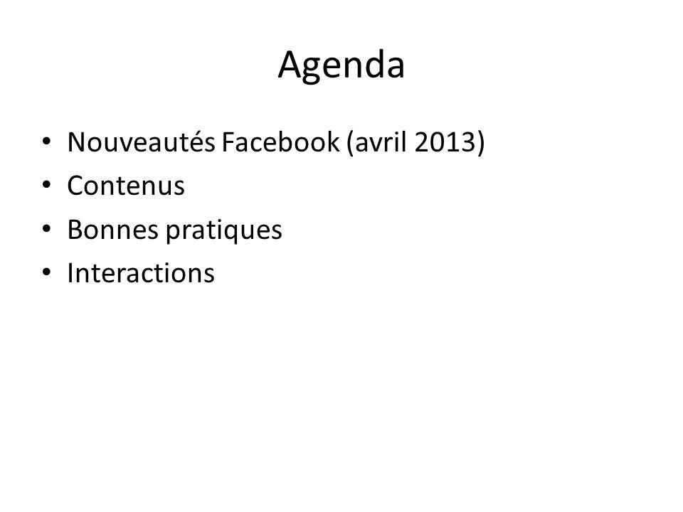 Agenda Nouveautés Facebook (avril 2013) Contenus Bonnes pratiques Interactions