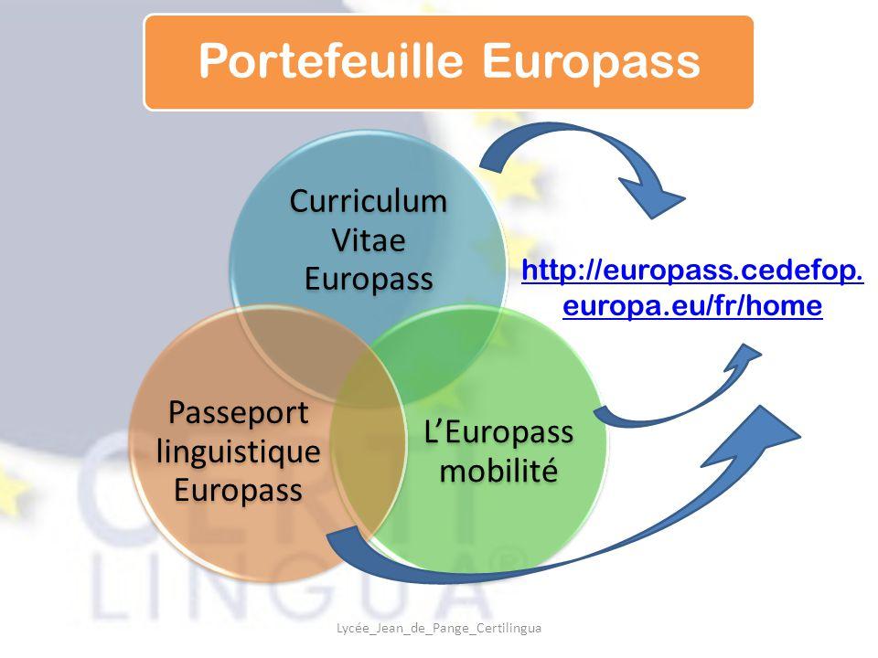 Curriculum Vitae Europass L'Europass mobilité Passeport linguistique Europass Portefeuille Europass http://europass.cedefop. europa.eu/fr/home Lycée_J