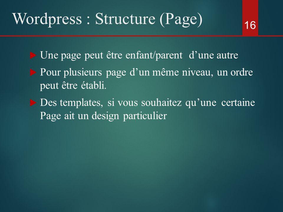  Une page peut être enfant/parent d'une autre  Pour plusieurs page d'un même niveau, un ordre peut être établi.