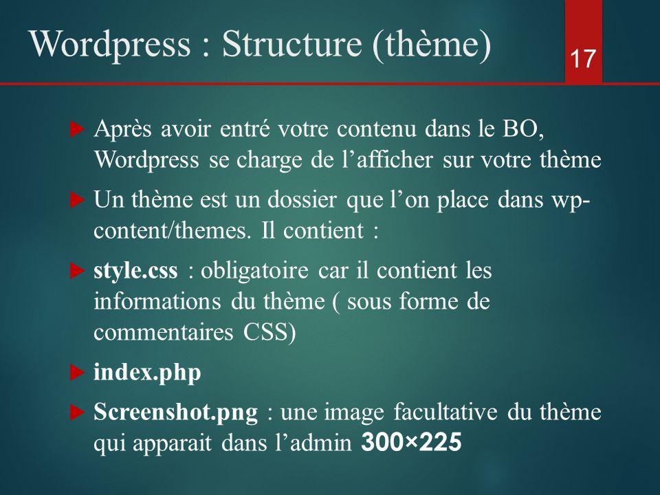  Après avoir entré votre contenu dans le BO, Wordpress se charge de l'afficher sur votre thème  Un thème est un dossier que l'on place dans wp- content/themes.