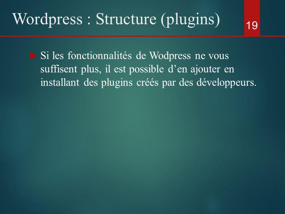  Si les fonctionnalités de Wodpress ne vous suffisent plus, il est possible d'en ajouter en installant des plugins créés par des développeurs.