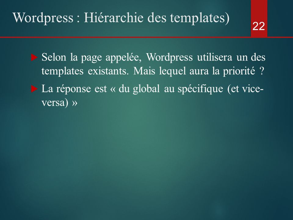  Selon la page appelée, Wordpress utilisera un des templates existants.