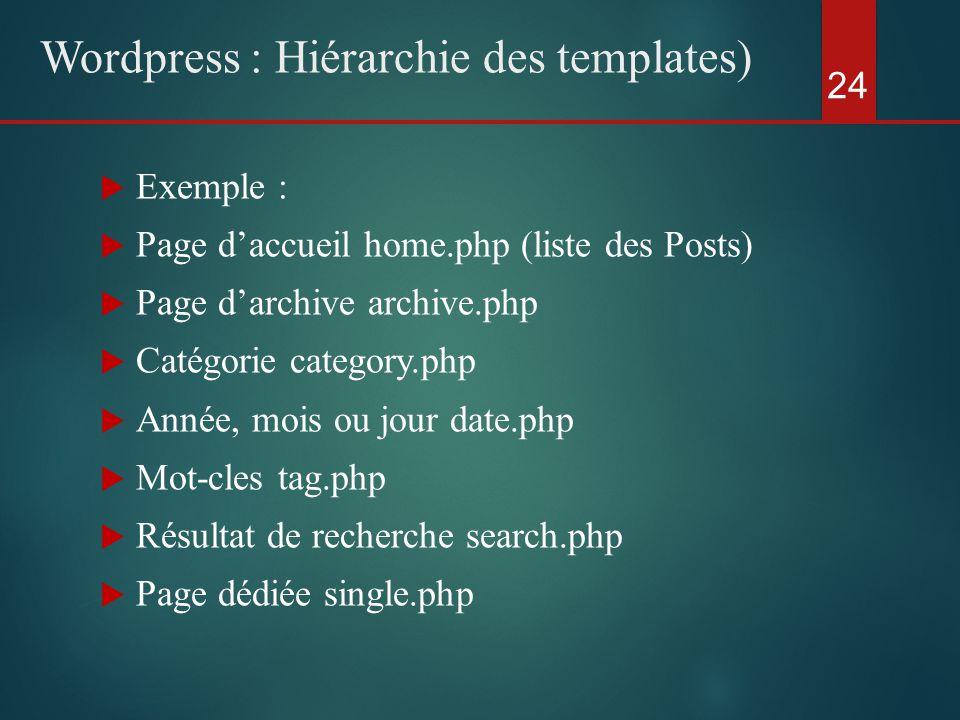  Exemple :  Page d'accueil home.php (liste des Posts)  Page d'archive archive.php  Catégorie category.php  Année, mois ou jour date.php  Mot-cles tag.php  Résultat de recherche search.php  Page dédiée single.php 24 Wordpress : Hiérarchie des templates)