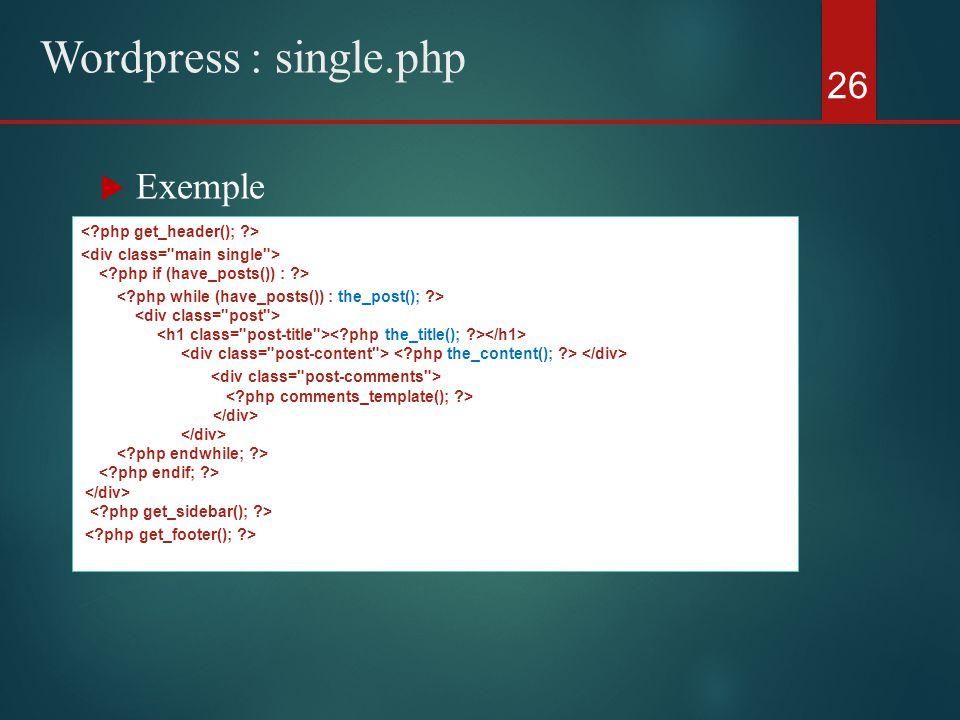  Exemple 26 Wordpress : single.php