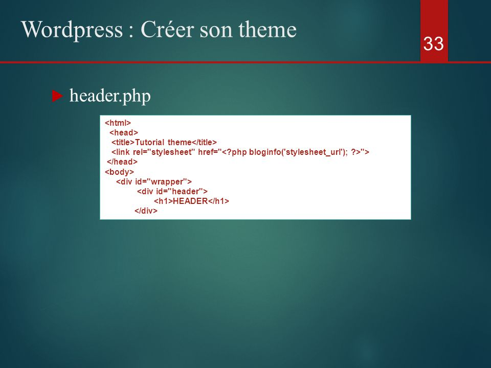  header.php 33 Wordpress : Créer son theme Tutorial theme > HEADER