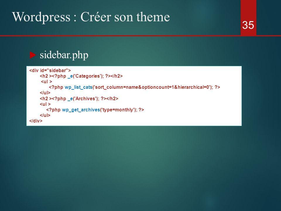  sidebar.php 35 Wordpress : Créer son theme