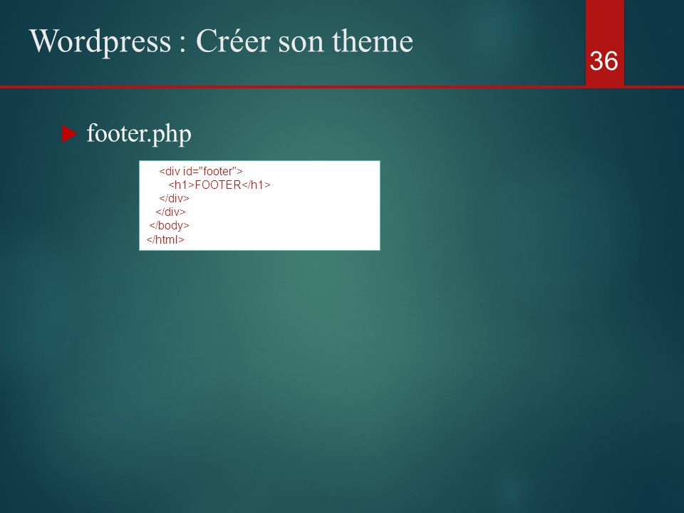  footer.php 36 Wordpress : Créer son theme FOOTER
