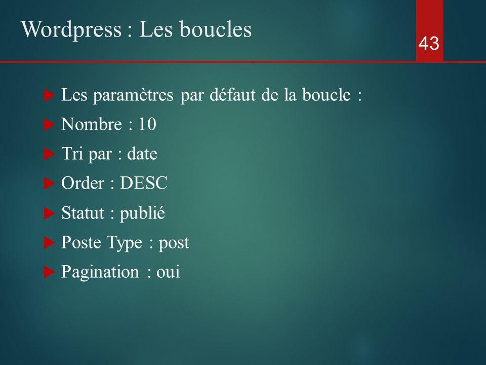  Les paramètres par défaut de la boucle :  Nombre : 10  Tri par : date  Order : DESC  Statut : publié  Poste Type : post  Pagination : oui 43 Wordpress : Les boucles