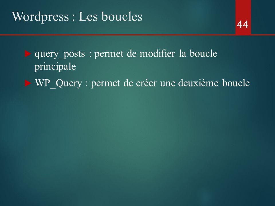  query_posts : permet de modifier la boucle principale  WP_Query : permet de créer une deuxième boucle 44 Wordpress : Les boucles