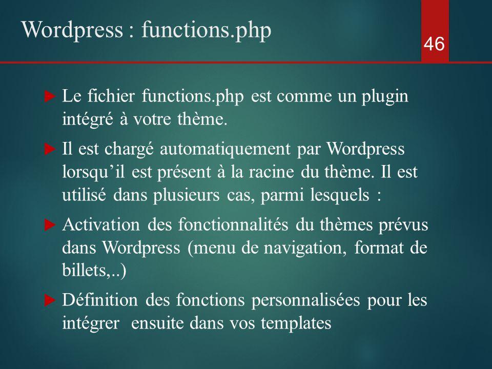  Le fichier functions.php est comme un plugin intégré à votre thème.