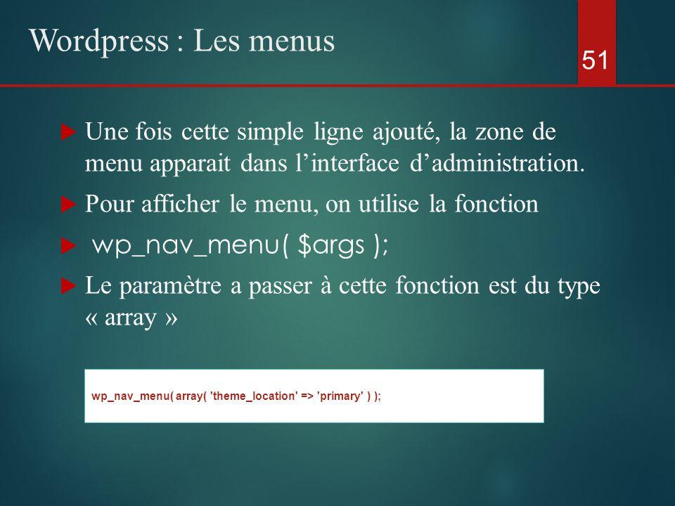  Une fois cette simple ligne ajouté, la zone de menu apparait dans l'interface d'administration.