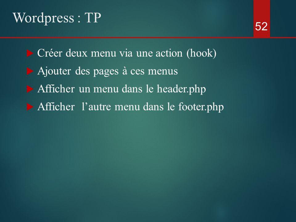  Créer deux menu via une action (hook)  Ajouter des pages à ces menus  Afficher un menu dans le header.php  Afficher l'autre menu dans le footer.php 52 Wordpress : TP