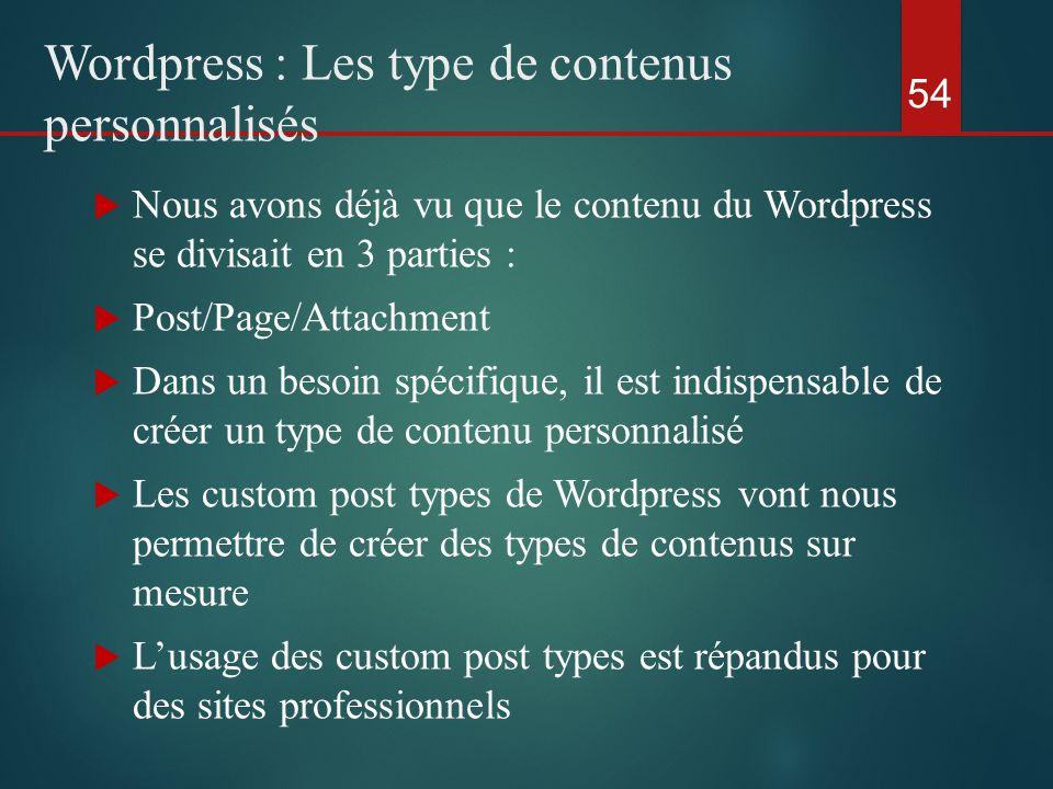  Nous avons déjà vu que le contenu du Wordpress se divisait en 3 parties :  Post/Page/Attachment  Dans un besoin spécifique, il est indispensable de créer un type de contenu personnalisé  Les custom post types de Wordpress vont nous permettre de créer des types de contenus sur mesure  L'usage des custom post types est répandus pour des sites professionnels 54 Wordpress : Les type de contenus personnalisés