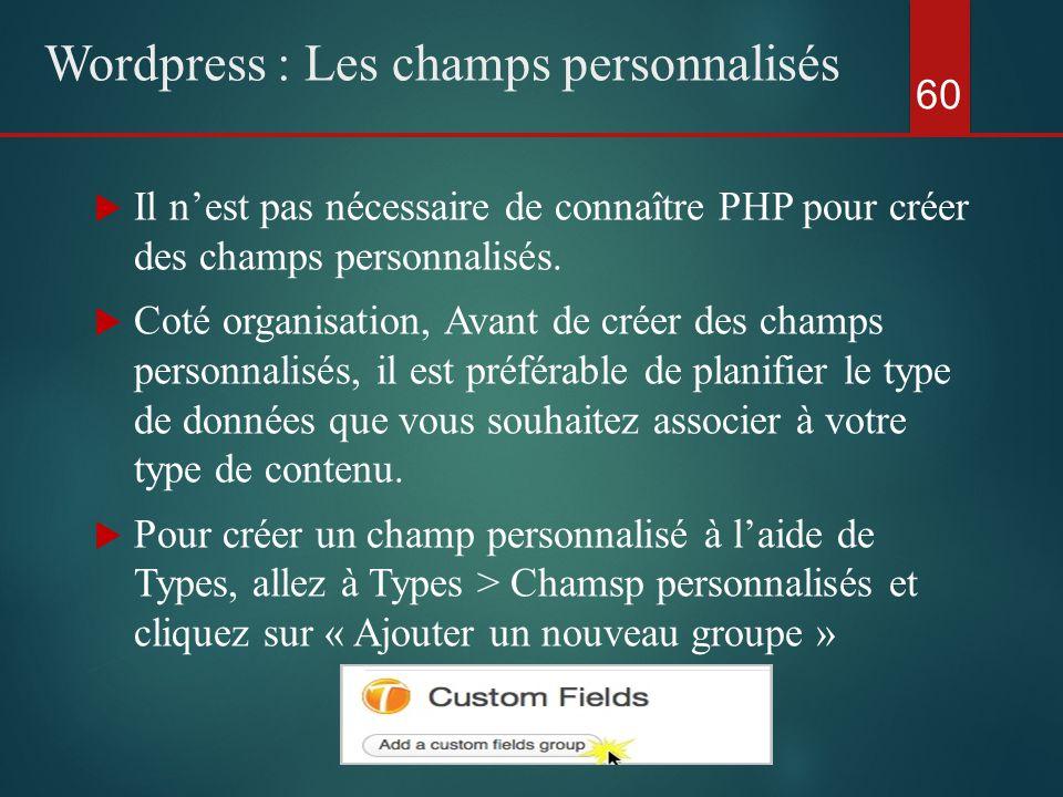 60 Wordpress : Les champs personnalisés  Il n'est pas nécessaire de connaître PHP pour créer des champs personnalisés.